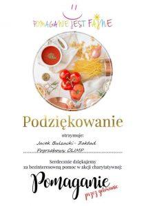 """Jacek Bulzacki - Zakład Pogrzebowy Olimp podziękowanie od """"Pomaganie jest fajne"""""""