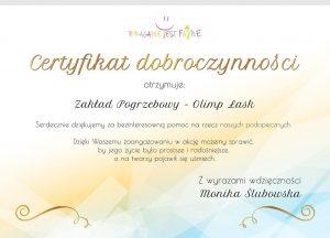 Certyfikat dobroczynności Olimp Łask - Jacek Bulzacki